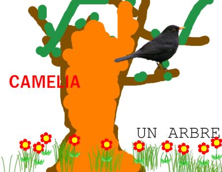Arbre dessiné par Camelia avec Tuxpaint