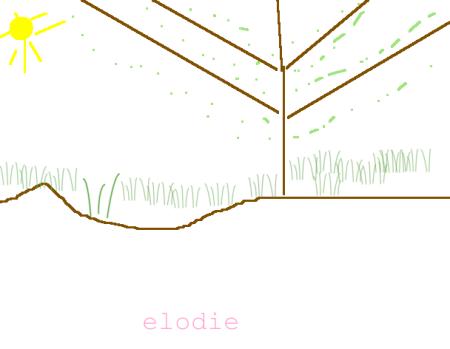 Pommier dessiné par Elodie sur Tuxpaint