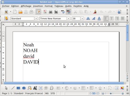 2 prénoms sur le traitement de texte