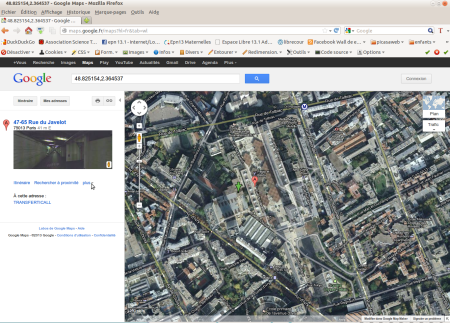 La dalle des Olympiades sur Google maps
