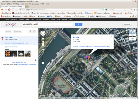 La tour Eiffel sur Google Maps