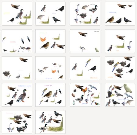 tampons d'oiseaux sur Tuxpaint